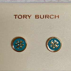 TORY BURCH LOGO TURQUOISE & GOLDTONE STUD EARRINGS